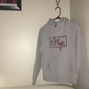 Grey and burgundy OBEY hoodie